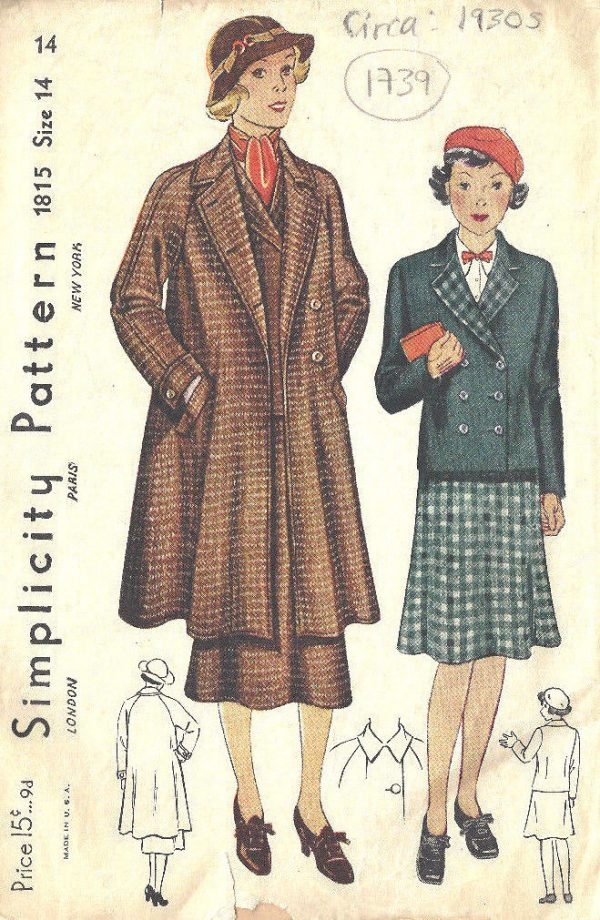 1930s-Vintage-Sewing-Pattern-B32-SUIT-SWAGGER-COAT-JACKET-SKIRT-1739-262576207135