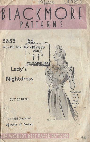 1940s-Vintage-Sewing-Pattern-B32-NIGHTDRESS-198-251173305025