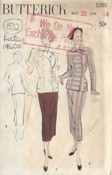 1940s-Vintage-Sewing-Pattern-B32-TWO-PIECE-DRESS-SUIT-1532R-252117364675