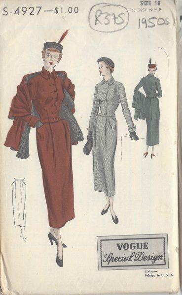 1940s-Vintage-VOGUE-Sewing-Pattern-B36-SUIT-JACKET-SKIRT-STOLE-R375-251157932685