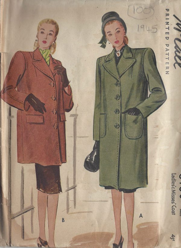1945-Vintage-Sewing-Pattern-B30-COAT-100-251173702485