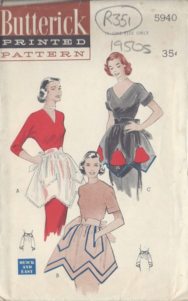1950s-Vintage-Sewing-Pattern-APRON-ONE-SIZE-R351-251157993605