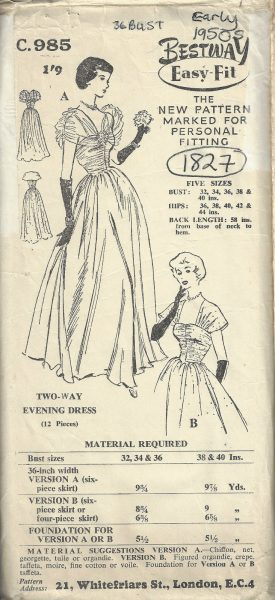 1950s-Vintage-Sewing-Pattern-B36-EVENING-DRESS-1827-252882876465
