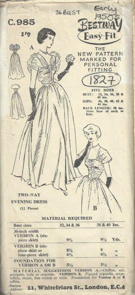1950s-Vintage-Sewing-Pattern-B36-EVENING-DRESS-1827-252882876465