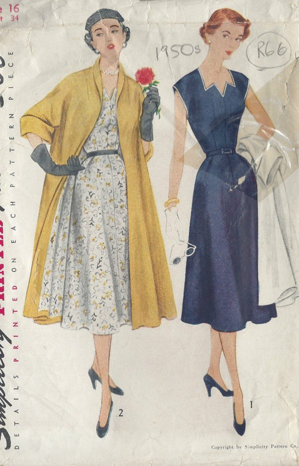 1951-Vintage-Sewing-Pattern-B34-DRESS-COAT-R66-251173247055