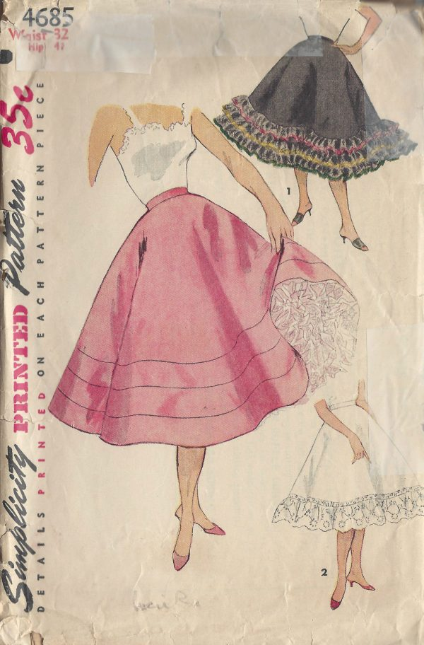 1954-Vintage-Sewing-Pattern-W32-FLARED-PETTICOAT-R934-261199586235
