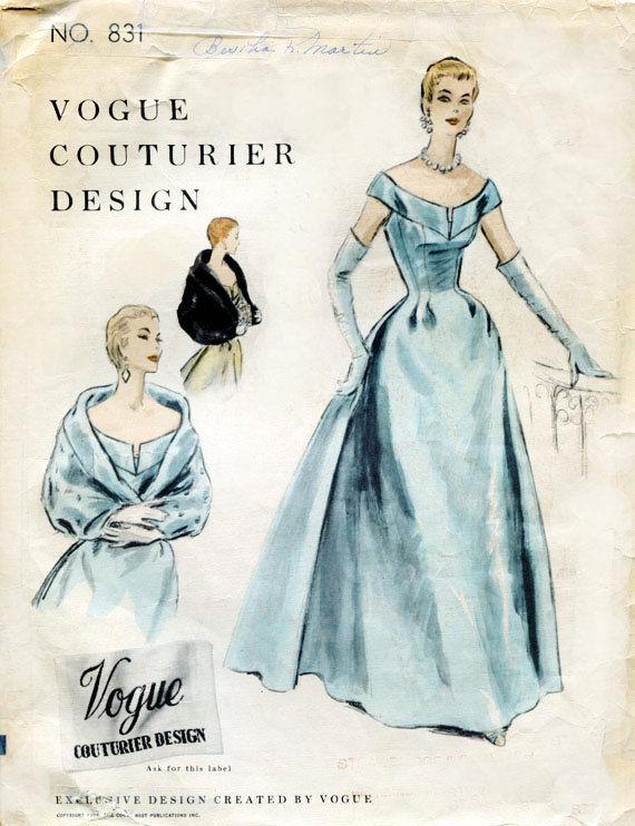 1954 Vintage VOGUE Sewing Pattern B32 DRESS EVENING DRESS REVERSIBLE ...
