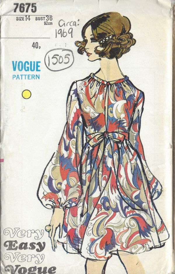 1969-Vintage-VOGUE-Sewing-Pattern-DRESS-B36-1505-252089166615