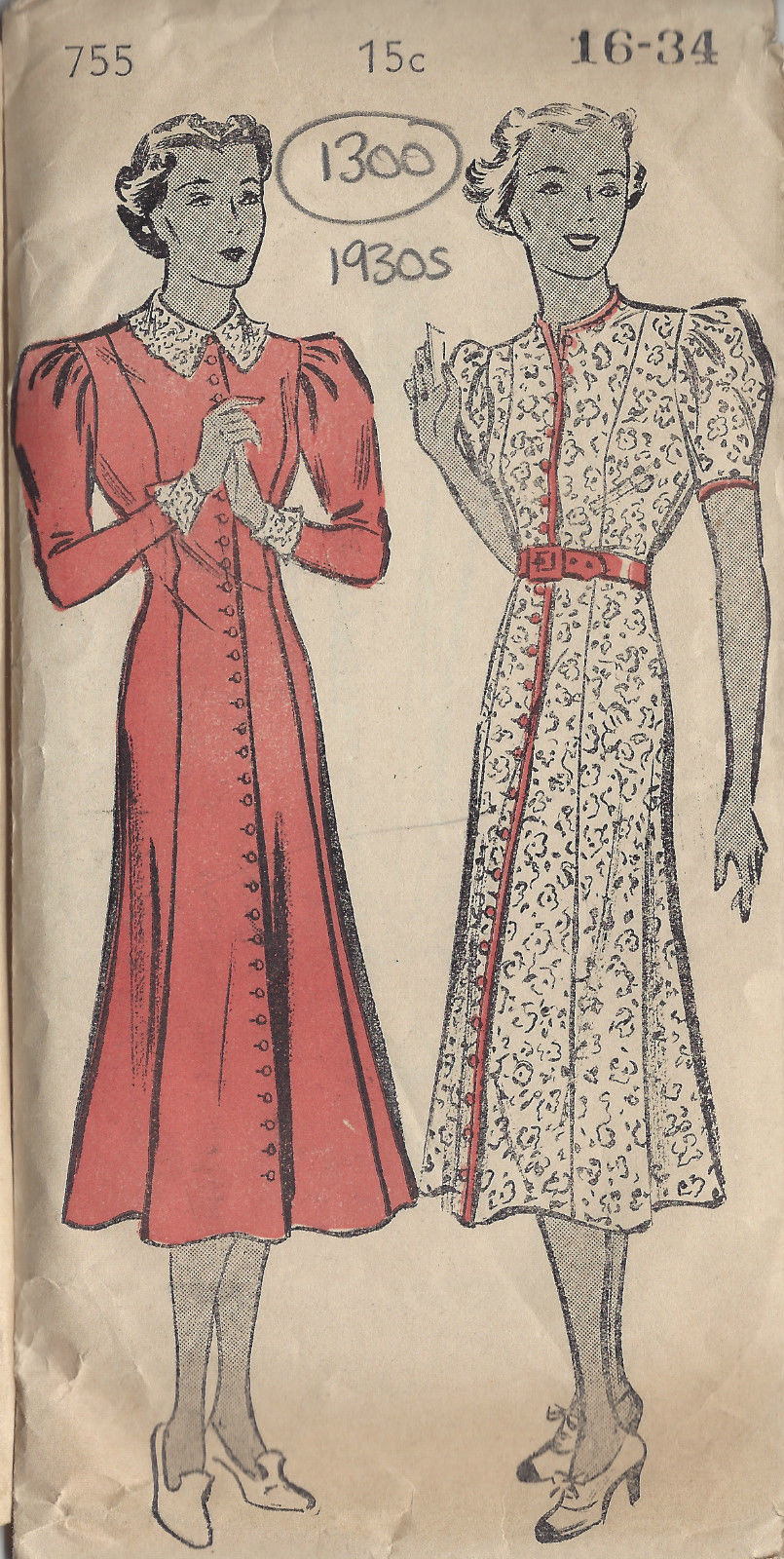 1930s Vintage Sewing Pattern B34 Dress 1300 The