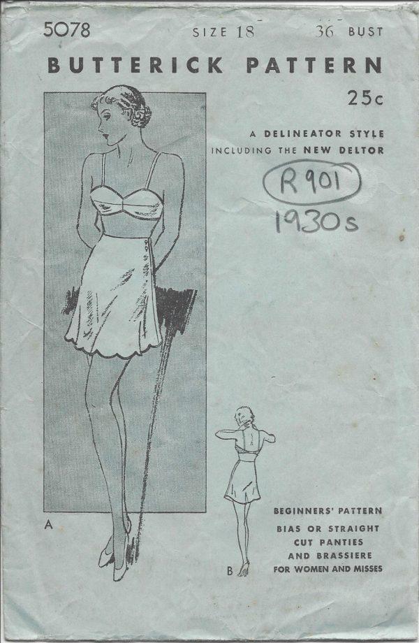 1930s-Vintage-Sewing-Pattern-B36-PANTIES-BRASSIERE-R901-251234947626
