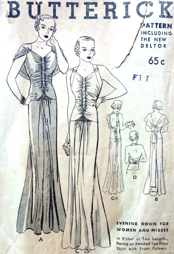 1930s-Vintage-Sewing-Pattern-B38-EVENING-DRESS-1648-252395118156
