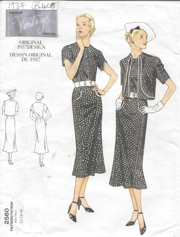 1937 Vintage Sewing Pattern DRESS-BOLERO B34\