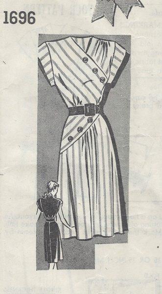 1940-Vintage-Sewing-Pattern-B32-DRESS-R728-251174633076-2