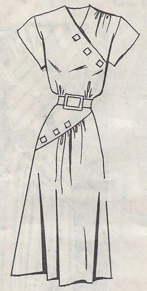 1940-Vintage-Sewing-Pattern-B32-DRESS-R728-251174633076