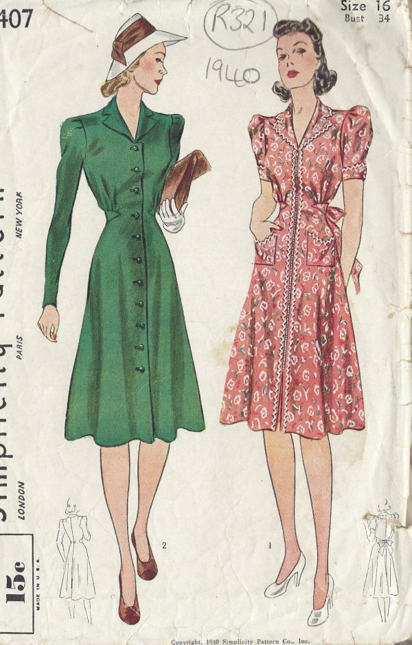 1940-Vintage-Sewing-Pattern-B34-DRESS-R321-251161116706
