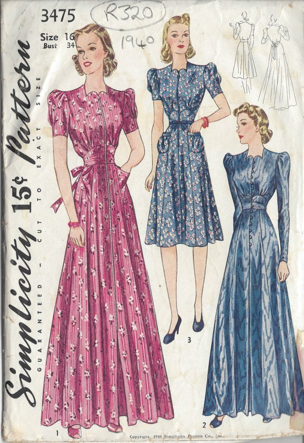 1940-Vintage-Sewing-Pattern-HOUSECOAT-DRESS-B34-R320-251146558166