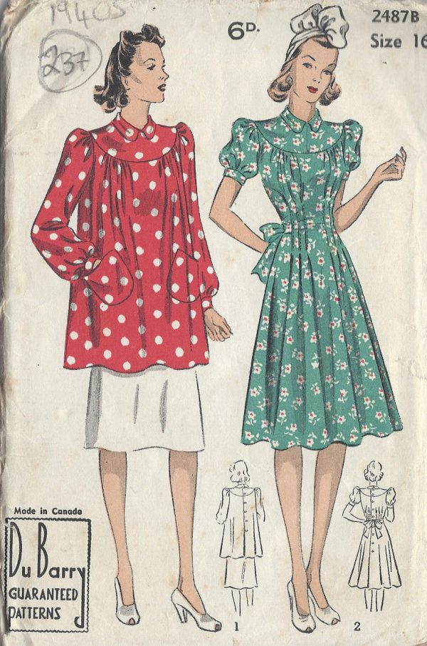 1940s-Vintage-Sewing-Pattern-B34-DRESS-SMOCK-237-By-Du-Barry-251173674006
