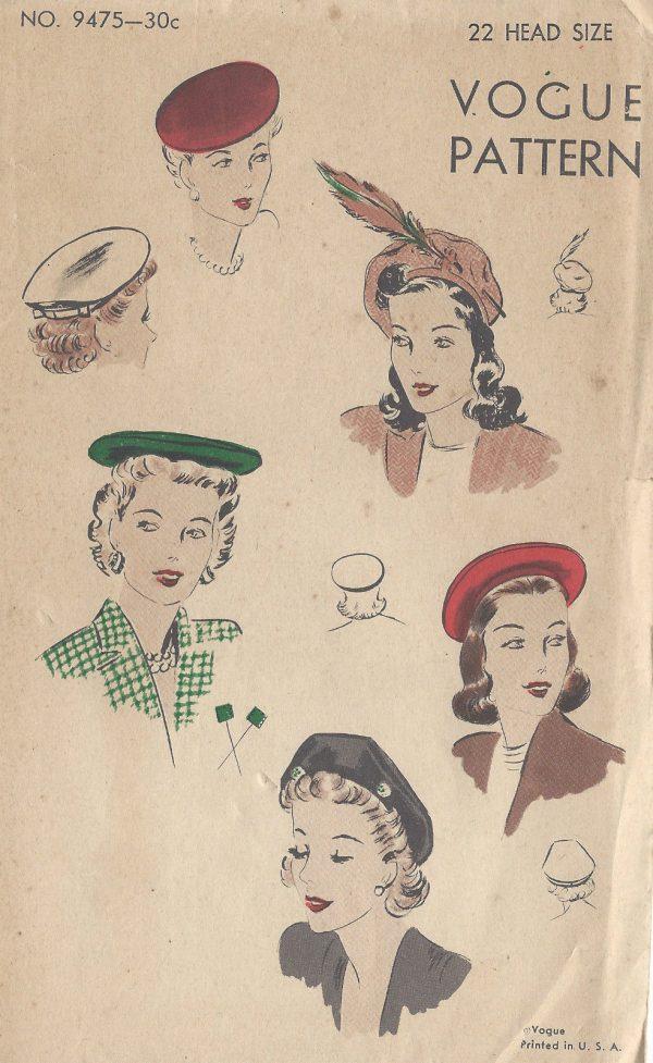 1940s-Vintage-VOGUE-Sewing-Pattern-S22-BERET-HAT-R908-262256047476