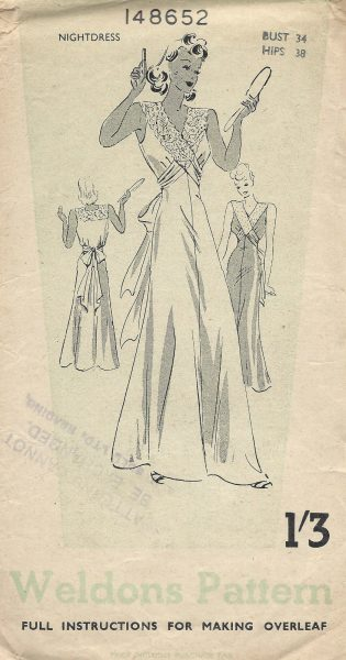 1940s-WW2-Vintage-Sewing-Pattern-B34-NIGHTDRESS-1477-252055831526