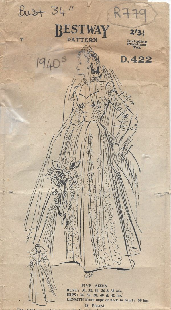 1942-Vintage-Sewing-Pattern-B34-WEDDING-DRESS-R779-251188823176