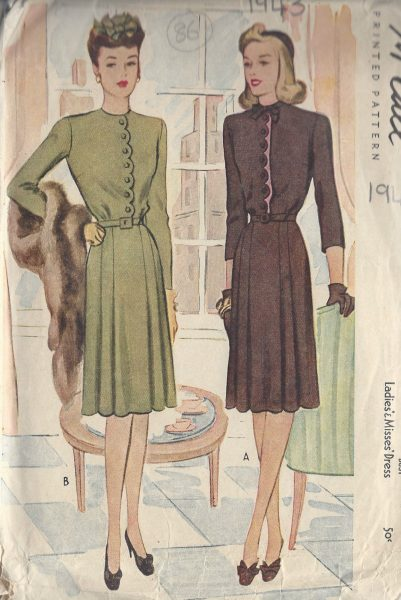 1943-Vintage-Sewing-Pattern-B38-DRESS-86-251173708466