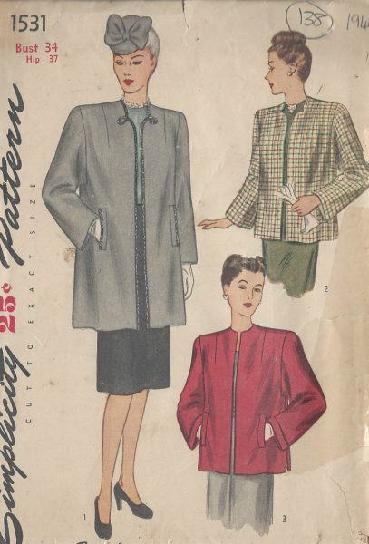1945-Vintage-Sewing-Pattern-B34-COAT-138-251173723106
