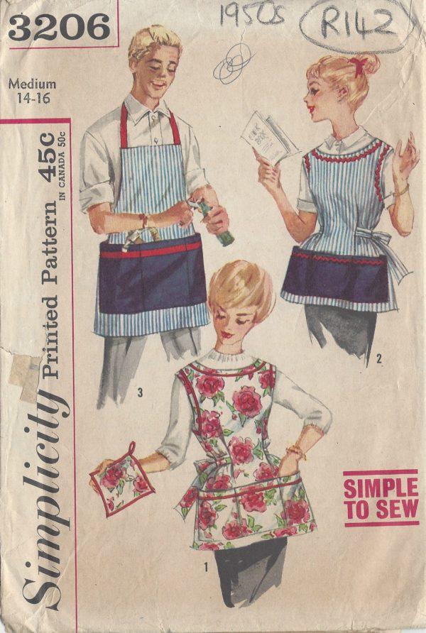 1950s-Vintage-Sewing-Pattern-APRON-B34-36-MEDIUM-R142-251144388956