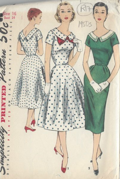 "1950s Vintage Sewing Pattern B32/"" DRESS /& JACKET R201"