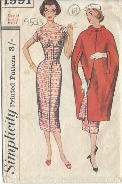 1957-Vintage-Sewing-Pattern-DRESS-CAPE-B36-S16-18-251141659666