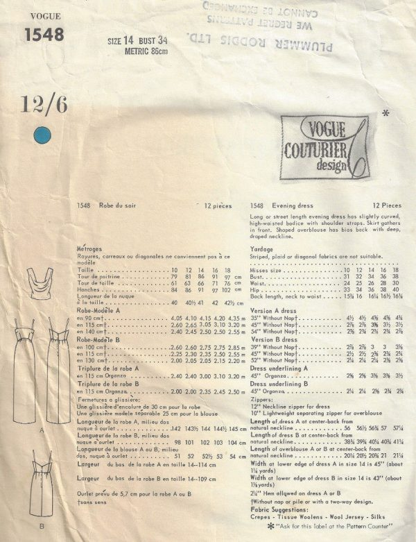 1965-Vintage-VOGUE-Sewing-Pattern-B34-EVENING-DRESS-1804-By-Jo-Mattli-262919147766-3