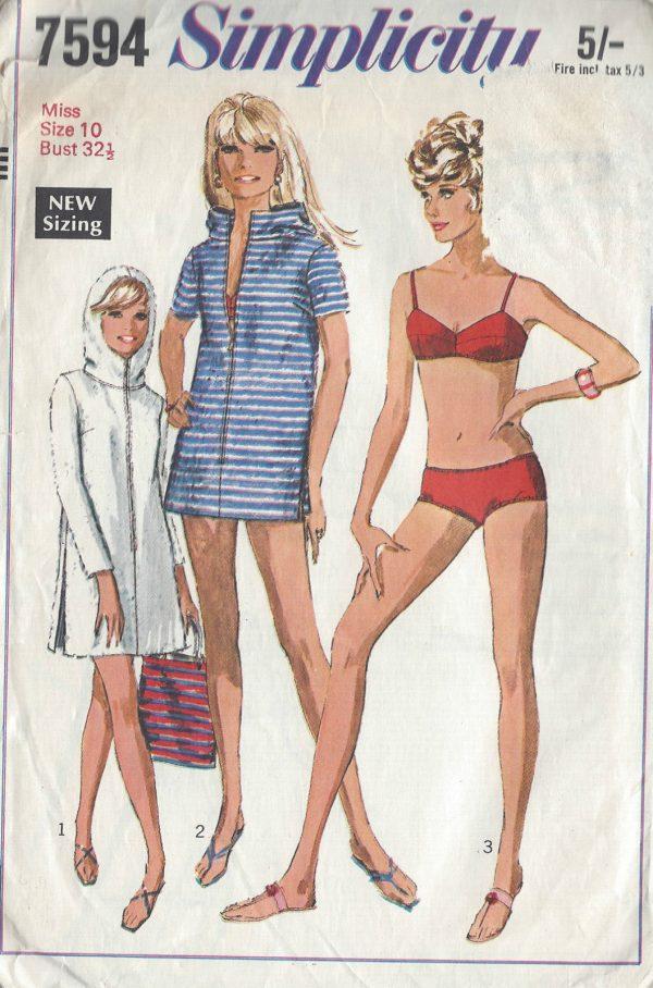 1968-Vintage-Sewing-Pattern-B32-12-BATHING-SUIT-BEACH-ROBE-R819-251220088366