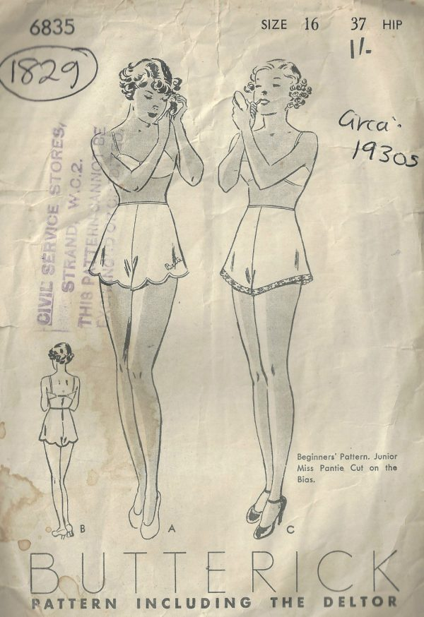 1930s-Vintage-Sewing-Pattern-W28-PANTIES-KNICKERS-1829-262945602677