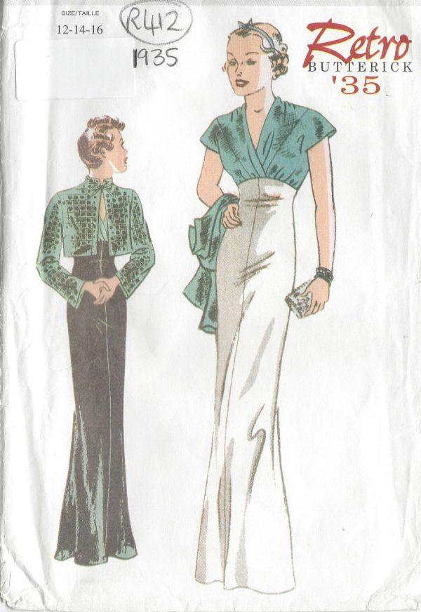 1935-Vintage-Sewing-Pattern-DRESS-JACKET-B34-36-38-R412-251146033427