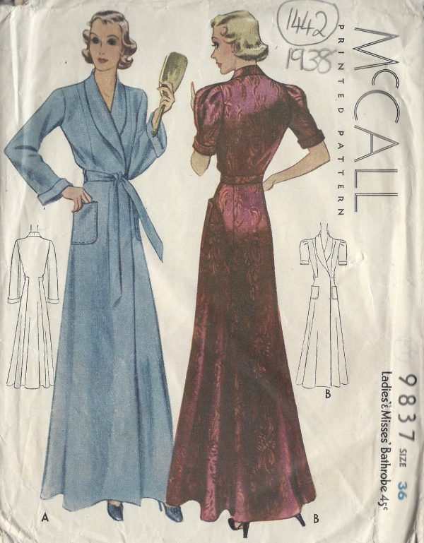 1938-Vintage-Sewing-Pattern-B36-BATHROBE-DRESSING-GOWN-1442-262398369787