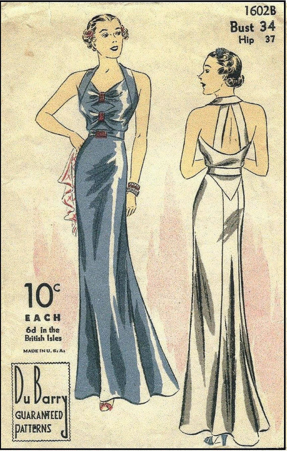 1939-Vintage-Sewing-Pattern-B34-EVENING-DRESS-R957-261203688417