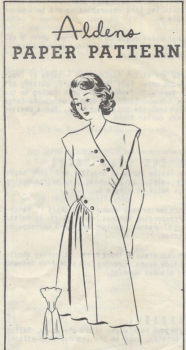 1940-Vintage-Sewing-Pattern-B34-DRESS-R729-251174633787