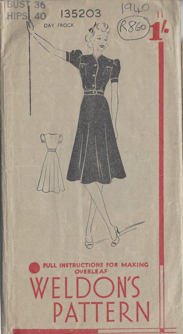 1940-Vintage-Sewing-Pattern-B36-DRESS-R860-261166269887