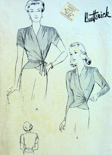 1940s-Vintage-Sewing-Pattern-B32-WRAP-AROUND-BLOUSE-R776-251186688557