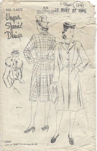 1940s-Vintage-VOGUE-Sewing-Pattern-COAT-B34-117-261658508167