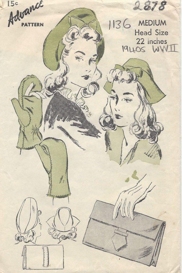 1940s-WW2-Vintage-Sewing-Pattern-S22-CAP-TAM-BAG-MITTENS-1136-261525188307