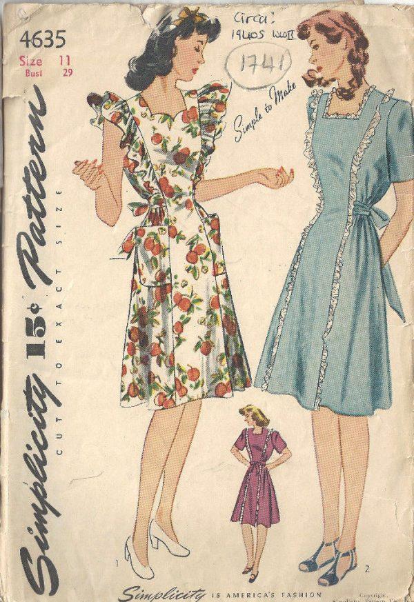 1941-WW11-Vintage-Sewing-Pattern-B29-PINAFORE-MATERNITY-DRESS-1741R-252499125667