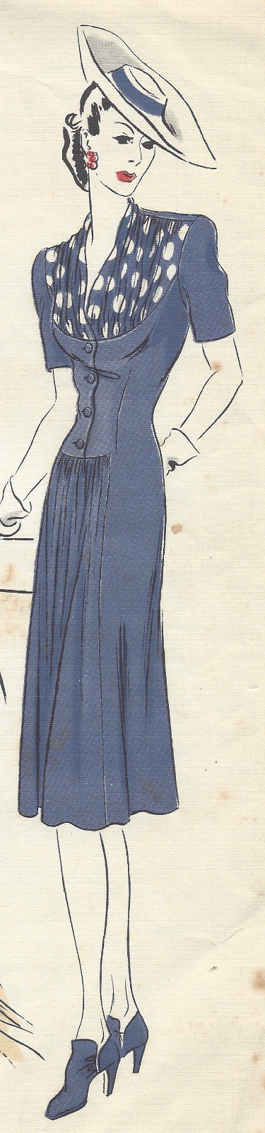 1943-WW2-Vintage-VOGUE-Sewing-Pattern-B30-DRESS-1129-251359282317-4