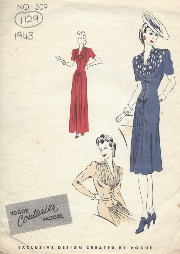 1943-WW2-Vintage-VOGUE-Sewing-Pattern-B30-DRESS-1129-251359282317