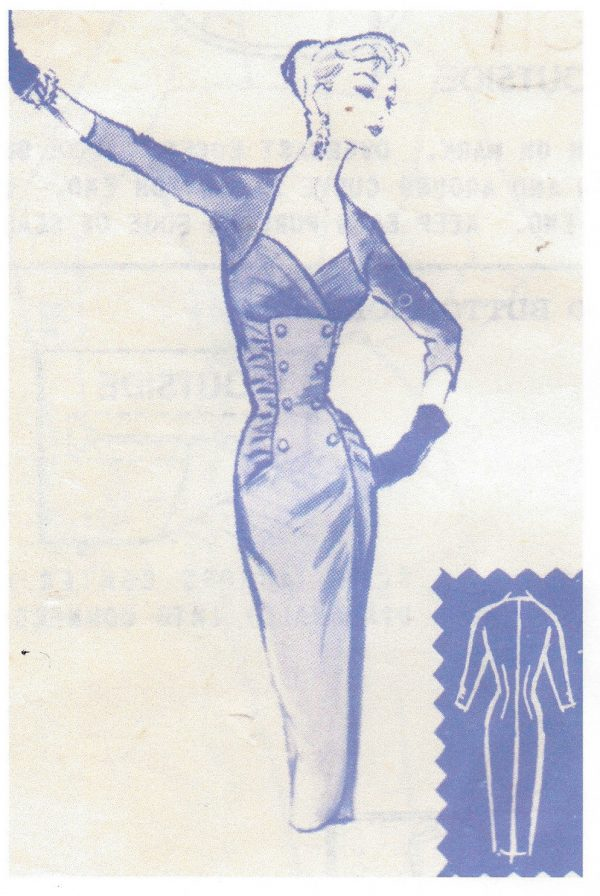 1950s-Vintage-Sewing-Pattern-B36-DRESS-110-By-Modes-Royale-252379195737