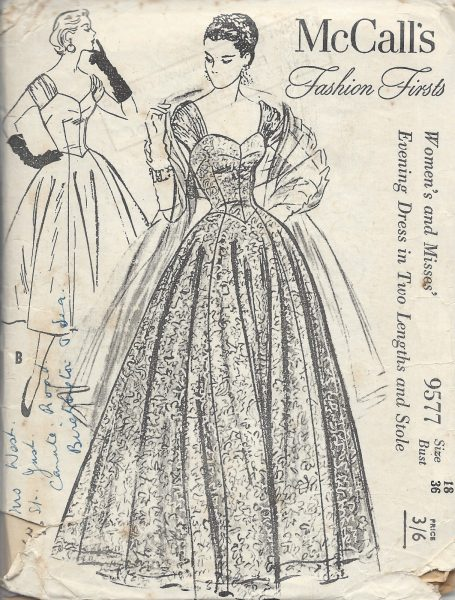 1950s-Vintage-Sewing-Pattern-B36-EVENING-DRESS-STOLE-E1241-251531977977