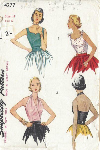 1953-Vintage-Sewing-Pattern-B32-HALTER-BLOUSE-CUMMERBUND-R917-251251308187