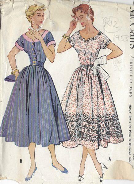 1953-Vintage-Sewing-Pattern-B34-DRESS-R12-251172212467
