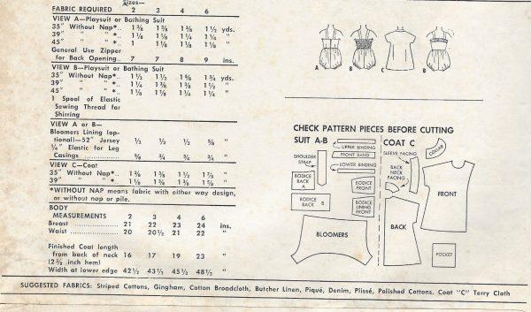 1954-Childrens-Vintage-Sewing-Pattern-S4-C23-PLAYSUIT-BATHING-SUIT-COAT-C8-261513759757-2