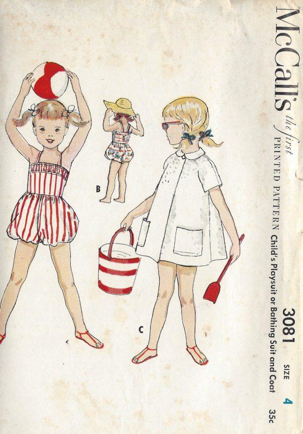 1954-Childrens-Vintage-Sewing-Pattern-S4-C23-PLAYSUIT-BATHING-SUIT-COAT-C8-261513759757
