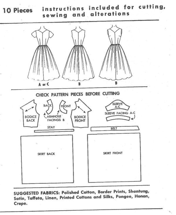 1955 Vintage Sewing Pattern B34 Dress R224 The Vintage Pattern Shop